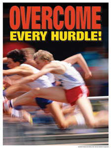 "Track and Field ""Overcome Every Hurdle"" Motivational Poster - Fitnus Corp."