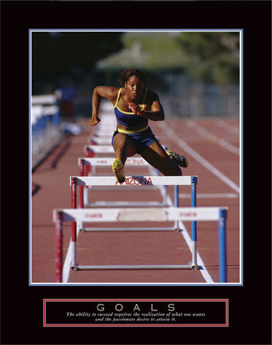 "Hurdler ""Goals"" Track and Field Motivational Poster - Front Line"