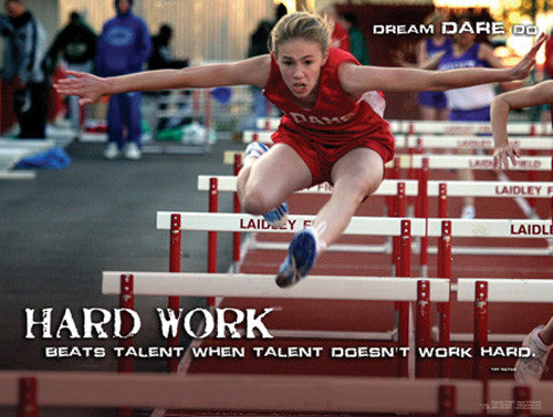 "Hurdles Track and Field ""Hard Work"" Motivational Inspirational Poster - Jaguar Inc."