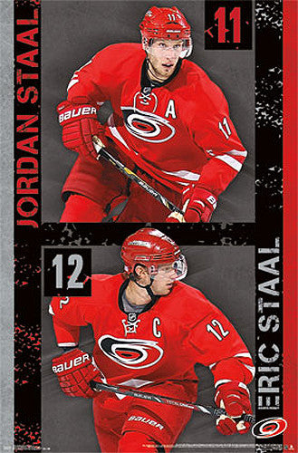 "Carolina Hurricanes ""Brothers"" (Eric and Jordan Staal) NHL Action Poster - Costacos 2013"