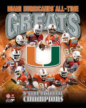 "Miami Hurricanes Football ""All-Time Greats"" (9 Legends) Premium Poster Print - Photofile Inc."