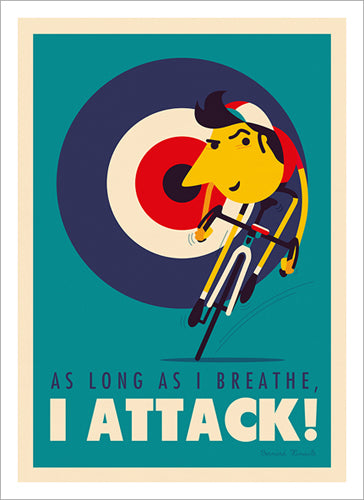 "Cycling Art by Spencer Wilson ""I ATTACK!"" (Hinault Quote) Premium Poster Print"