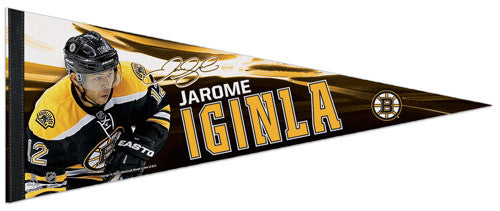 "Jarome Iginla ""Signature"" Boston Bruins Premium Felt Collector's Pennant - Wincraft 2013"