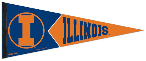 Illinois Fighting Illini Retro College Vault Style Premium Felt Collector's Pennant - Wincraft Inc.
