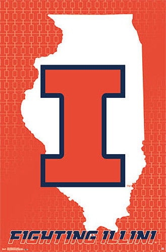 University of Illinois Fighting Illini Official NCAA Team Logo Poster - Costacos Sports