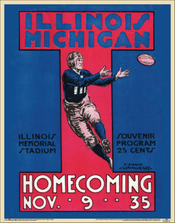 "Illinois Fighting Illini Football vs. Michigan ""Homecoming 1935"" Vintage Poster Reprint - Asgard"