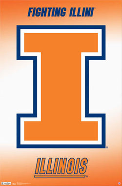 University of Illinois Fighting Illini Official NCAA Logo Poster - Costacos