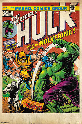Incredible Hulk #181 (Wolverine's Debut, Nov. 1974) Official Marvel Comic Book Cover Poster Reprint