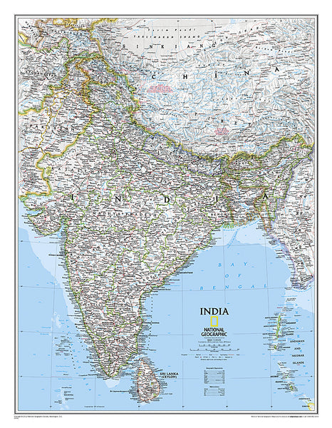 Map of INDIA National Geographic Classic Edition 23x30 Wall Map Poster - NG Maps