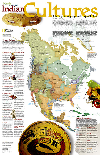 North American Indian Cultures National Geographic 24x36 Wall Map Poster - NG Maps