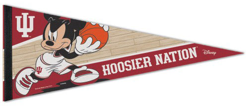 "Indiana Hoosiers Basketball ""Mickey Mouse Point Guard"" Official Disney NBA Premium Felt Collector's Pennant - Wincraft Inc."
