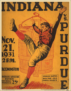Indiana Hoosiers vs. Purdue Oaken Bucket 1931 Vintage Program Cover Poster Print - Asgard Press
