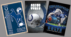 COMBO: Indianapolis Colts NFL Football Team Logo Theme Art 3-Poster Combo Set