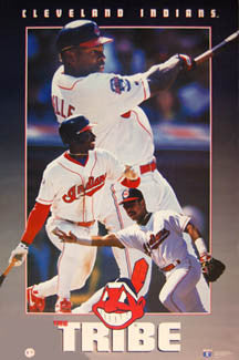 "Cleveland Indians ""The Tribe"" Poster (Belle, Lofton, Baerga) - Costacos Brothers 1994"