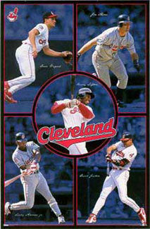 "Cleveland Indians ""Five Stars"" Poster (Vizquel, Thome, Lofton, Alomar, Justice) - Costacos Sports 1998"