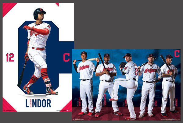 "Cleveland Indians ""Superstars"" 2-Poster Combo Set (Lindor, 5-Stars) - Trends International 2017"