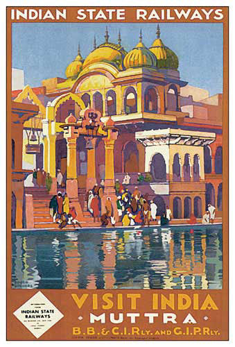 "Indian State Railways ""Visit Muttra (Mathura)"" c.1928 Travel Poster Reprint - Eurographics"