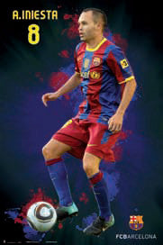 "Andres Iniesta ""SuperAction"" FC Barcelona Soccer Poster - G.E. (Spain) 2011"