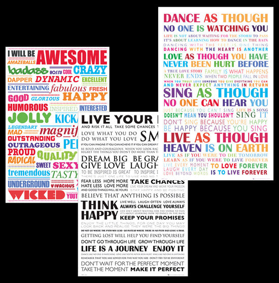 COMBO: Inspirational Word Cloud Posters 3-Poster Combo Set - GB Eye Inc.