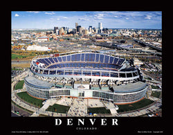 Sports Authority Field at Mile High, Denver Aerial Stadium Poster Print - Aerial Views