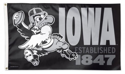 "University of Iowa Hawkeyes ""Herky QB"" Retro-B&W-Style NCAA Deluxe 3'x5' Flag - Wincraft Inc."