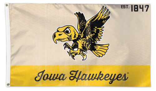 "University of Iowa Hawkeyes ""Herky Classic"" Retro 1940s-Style College Vault Collection NCAA Deluxe 3'x5' Flag"