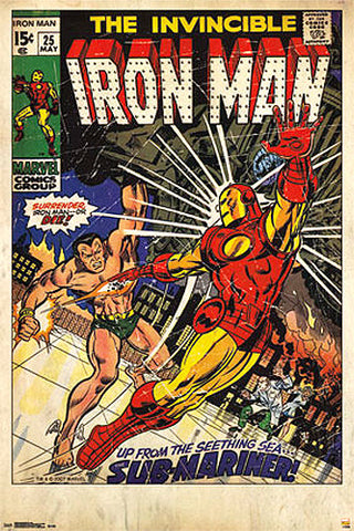 "Invincible Iron Man #25 (May 1970) ""Iron Man vs Sub-Mariner"" 24x36 Cover Poster"