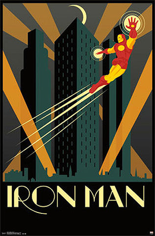 "Iron Man by Marvel Comics ""Art Deco"" Decorative Collectible Wall Poster - Trends International"