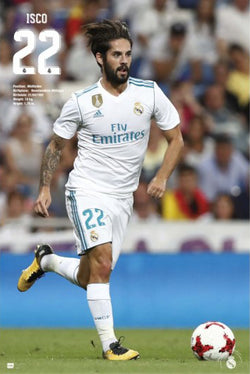 "Isco ""Superstar"" Real Madrid CF Official La Liga Soccer Action Poster - G.E. (Spain) 2018"