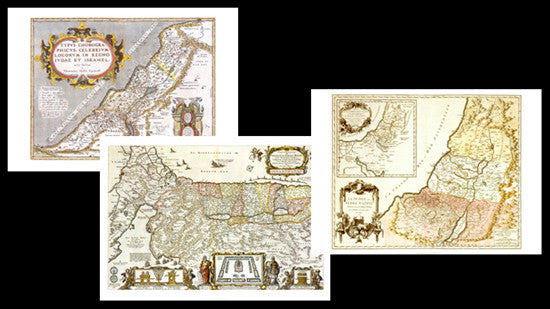COMBO: Vintage Historic Maps of Israel, The Promised Land (1586, 1663, 1750)