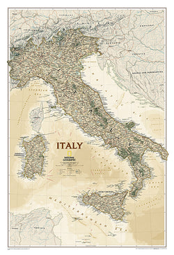 Map of ITALY National Geographic Executive Edition 23x34 Wall Map Poster - NG Maps
