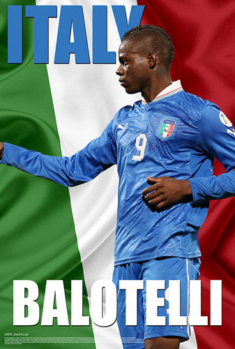 "Mario Balotelli ""Italy Incredible"" World Cup 2014 Soccer Superstar Poster - Starz"
