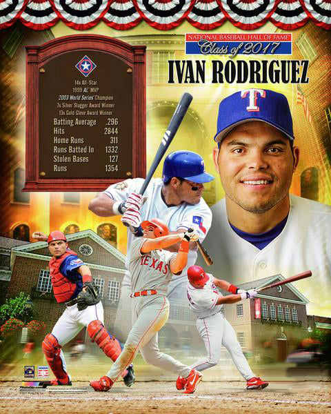 Ivan Rodriguez Hall of Fame Class of 2017 Commemorative Premium POSTER Print - Photofile