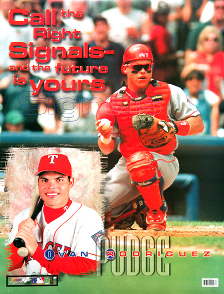 "Ivan Rodriguez ""Signals"" Texas Rangers Motivational Poster - Photo File 1999"