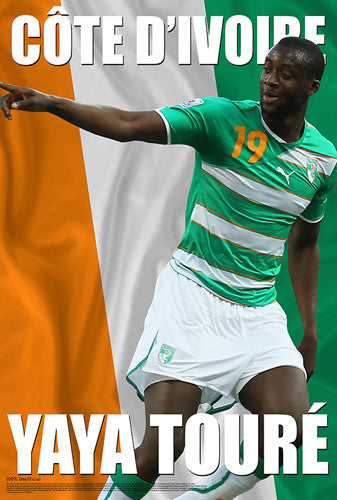 "Yaya Toure ""Ivory Coast Cool"" World Cup 2014 Soccer Superstar Poster - Starz"