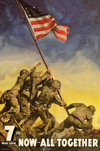 "Iwo Jima Flag Raising ""Now All Together"" (1945) US War Bonds Poster Reprint - Pyramid"