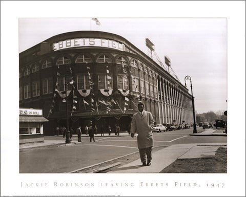 "Jackie Robinson ""Leaving Ebbets Field, 1947"" Brooklyn Dodgers Classic Baseball Poster - NYGS"