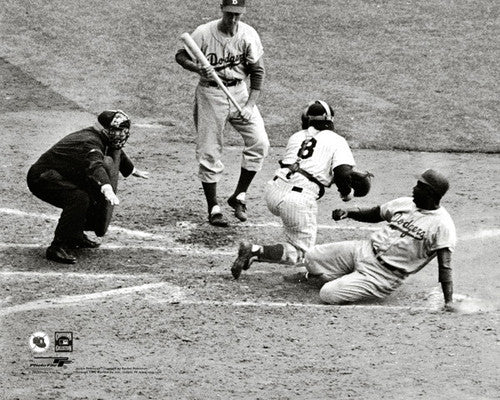 "Jackie Robinson ""Safe!"" (1955 World Series Gm.1) Premium MLB Classic Poster Print - Photofile"