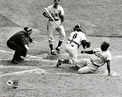 "Jackie Robinson ""Safe at Home"" (1955 World Series) Brooklyn Dodgers Premium MLB Poster Print - Photofile"