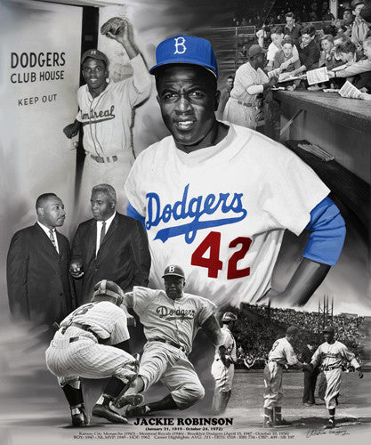 Jackie Robinson Lifetime Tribute Commemorative Print - Wishum Gregory