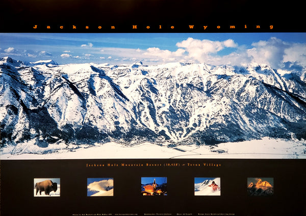 Jackson Hole Mountain Resort Skiing Panoramic Poster - Focus Productions