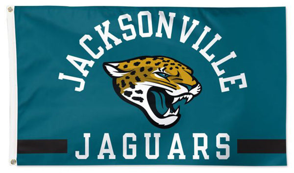 Jacksonville Jaguars Official NFL Football Team Logo and Script 3'x5' Deluxe Flag - Wincraft Inc.