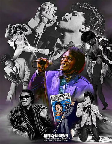 "James Brown ""Godfather of Soul"" Music Career Art Collage Poster Print - Wishum Gregory"