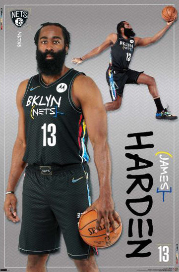 "James Harden ""Brooklyn Bomber"" Brooklyn Nets NBA Basketball Action Poster - Trends 2021"