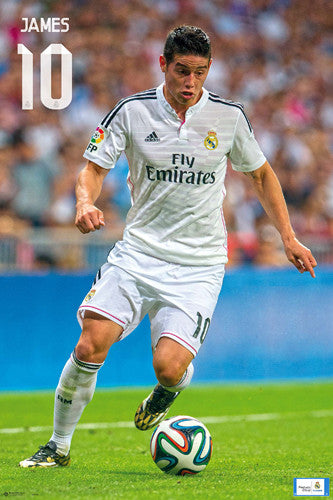 "James Rodriguez ""Game Night"" Real Madrid CF Official La Liga Soccer Poster - G.E. (Spain)"