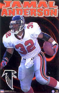 "Jamal Anderson ""Flash"" Atlanta Falcons Poster - Starline 1999"
