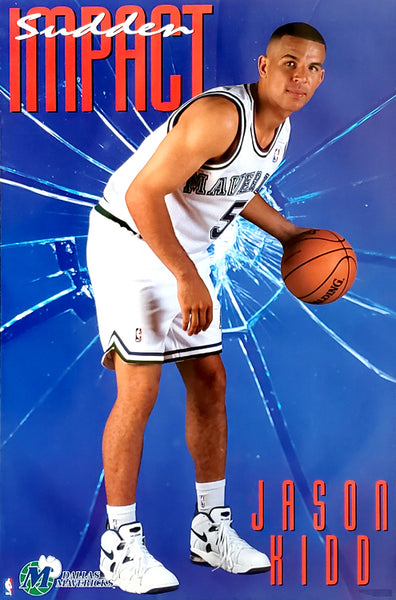 "Jason Kidd ""Sudden Impact"" Dallas Mavericks NBA Basketball Poster - Costacos Brothers 1994"