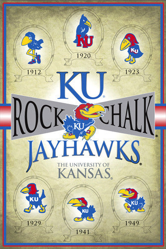 "Kansas Jayhawks Historic Logos (1912-1949) ""Rock Chalk"" Poster - ProGraphs Inc."