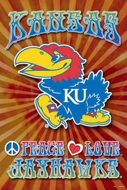 "Kansas Jayhawks ""Peace, Love, Jayhawks"" Team Spirit NCAA Logo Poster - ProGraphs"