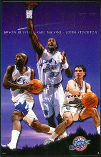 "Utah Jazz ""Shooting Stars"" NBA Action Poster (John Stockton, Karl Malone, Byron Russell) - Costacos 1999"